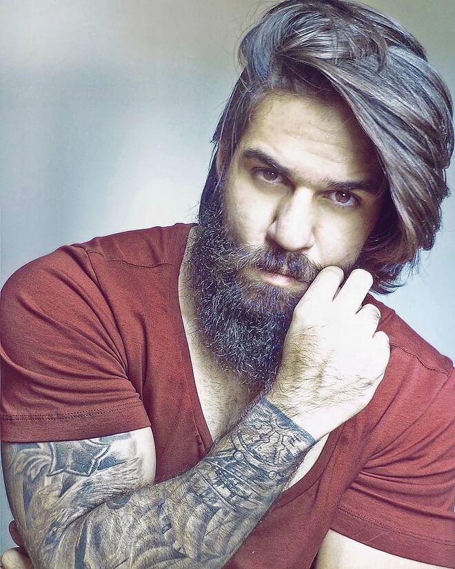 Messy Flowing Hair + Long Beard Style