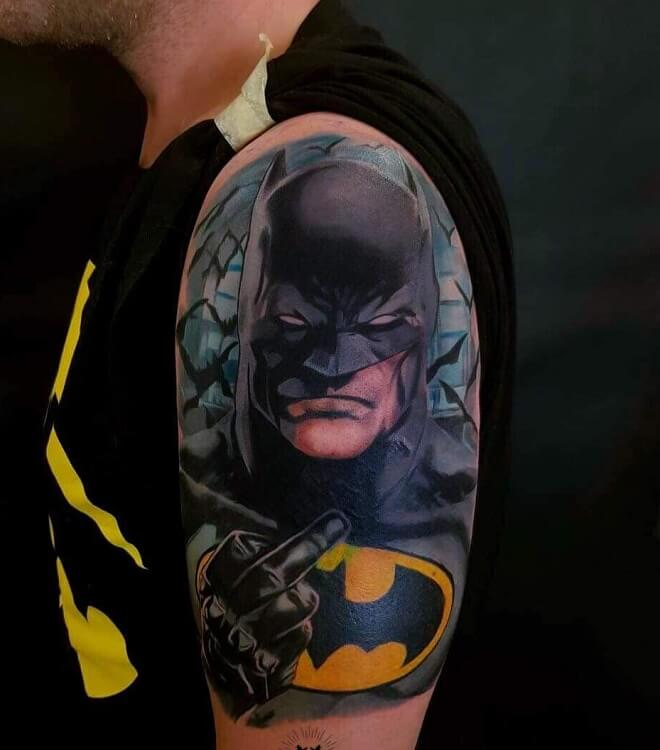 Batman Colorful Tattoos