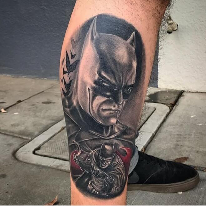 Batman Tattoos On Leg