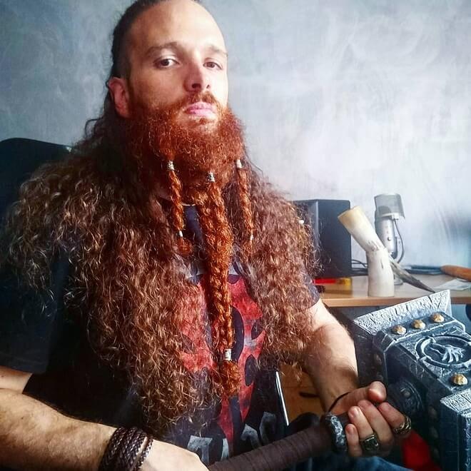 Braided Beard With Long Curly Hair