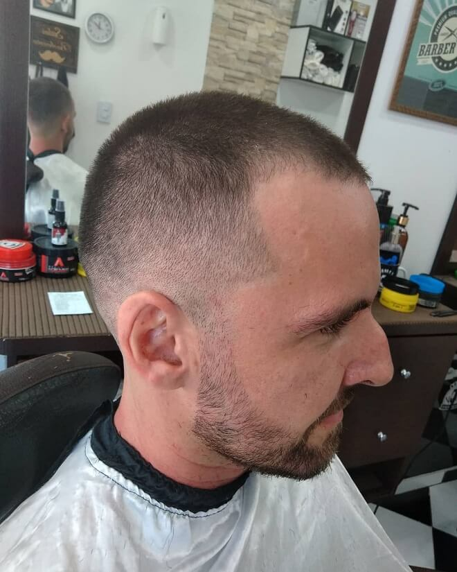 Half Shaved Head Hairstyle With Low Fade