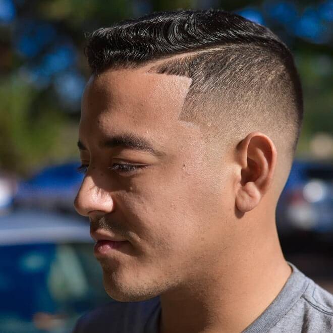 Hard Part Haircut With Wavy Hair