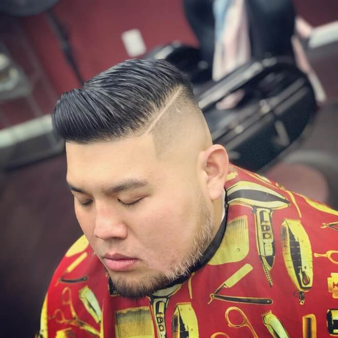 Hard Part Hairstyle With Line Design