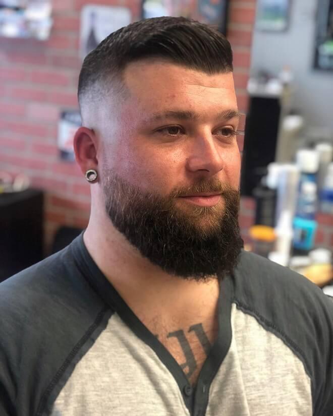 Hardpart Haircut With Beard Style