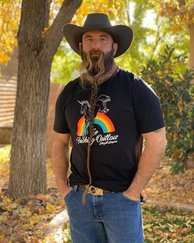 Long Braided Beard With Long Mustache
