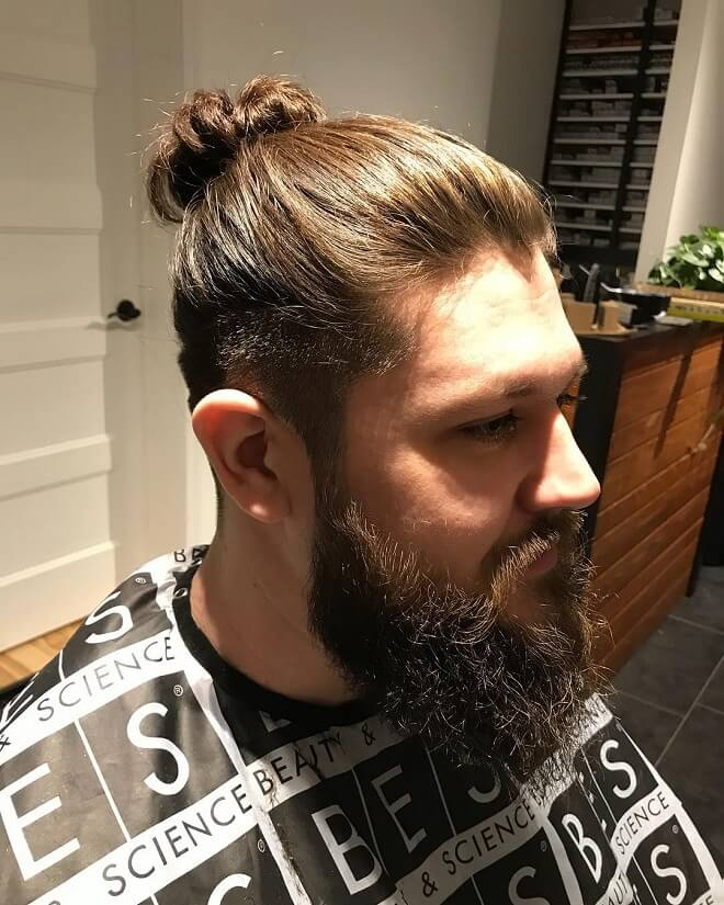 Man Bun Fade With Beard