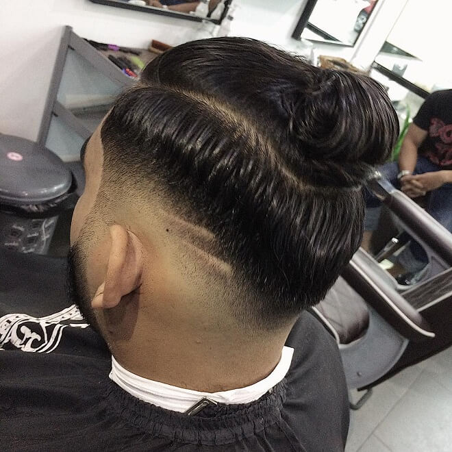 Man Bun With Comb Over