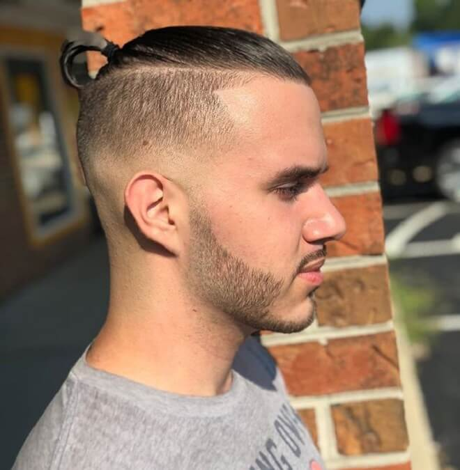Skin Fade Short Hair Man Bun