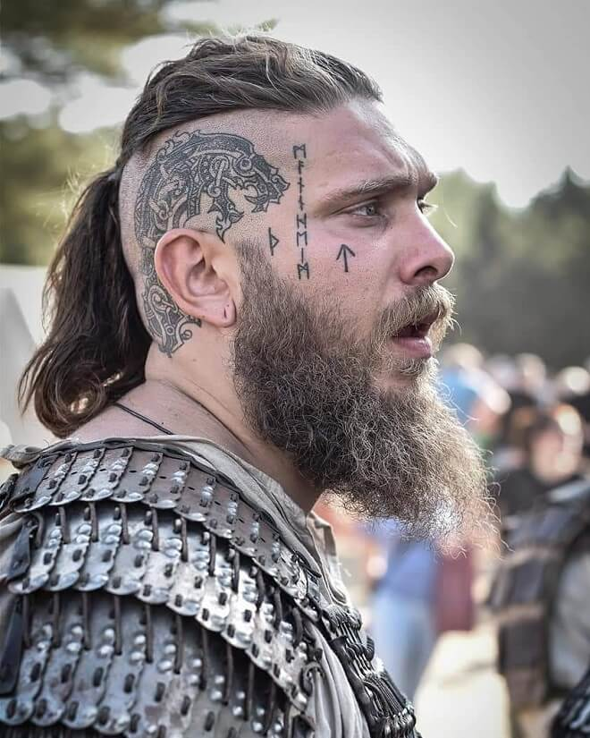 Viking Hairstyle with tattoo