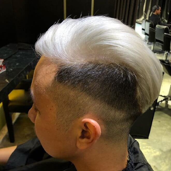 White hair with side cut