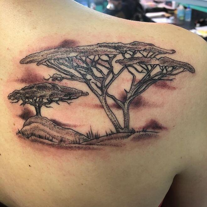 Black Work Tree Tattoo