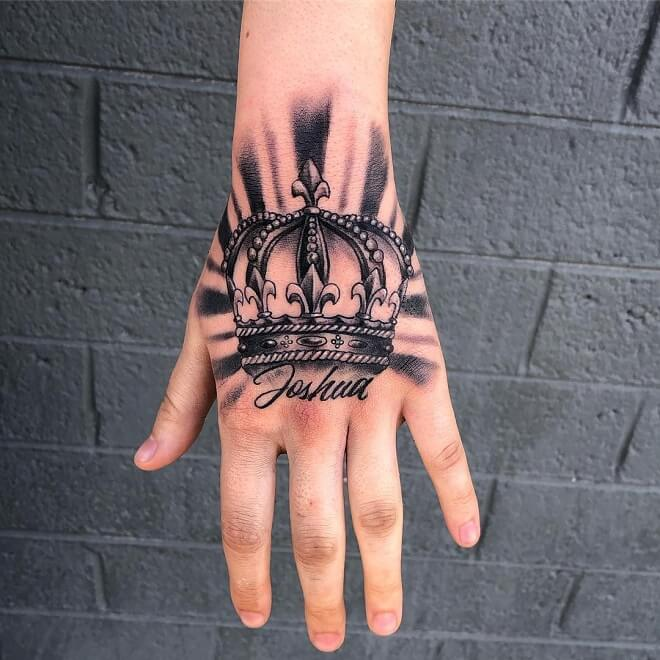Black and Grey Hand Tattoo