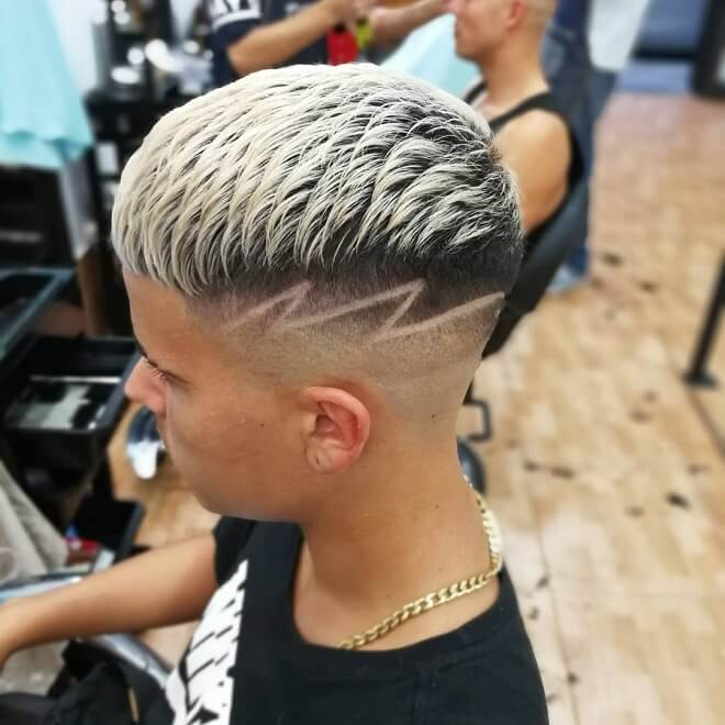 Blonde Haircut With Design