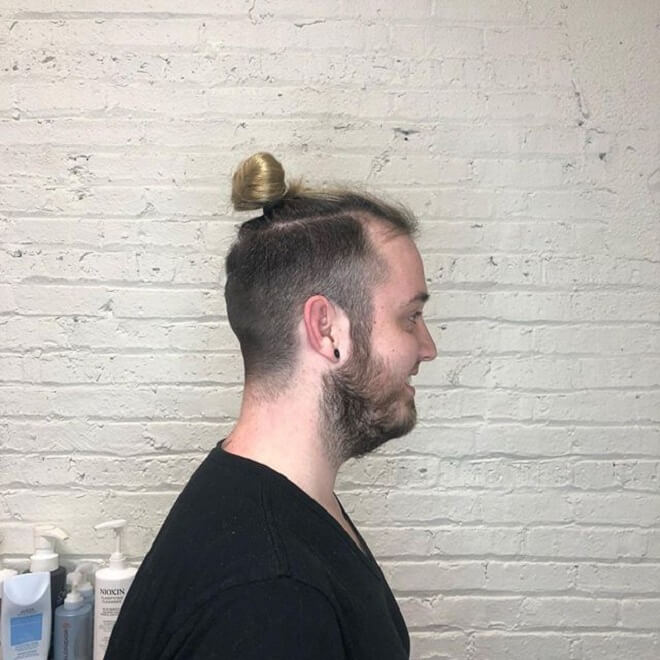 Blonde Top Knot With Fade