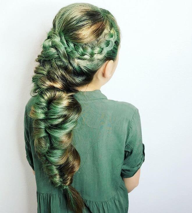Cascade Mermaid Hairdo With Green Hair