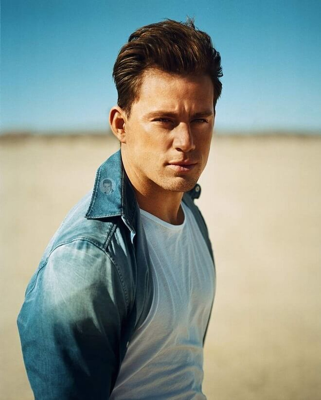 Channing Tatum Swept Back Hairstyle