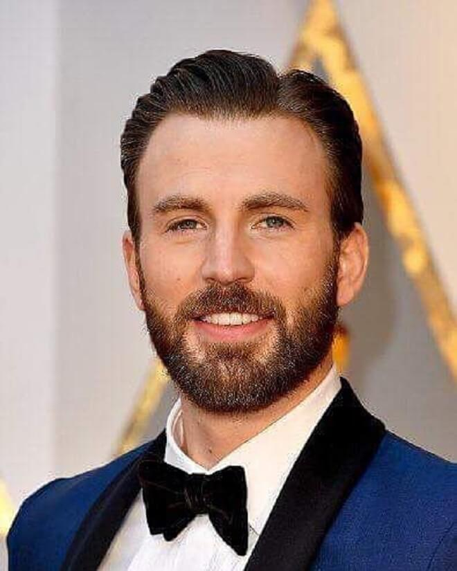 Chris Evans Hairstyle With Full Beard