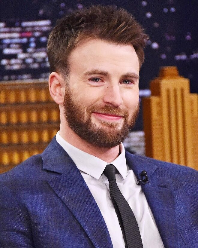 Chris Evans Spikey Hairstyle With Full Beard