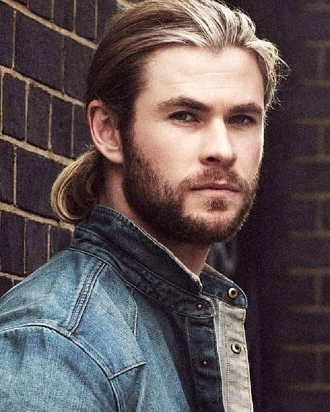 Chris Hemsworth Long Hair Bun Style