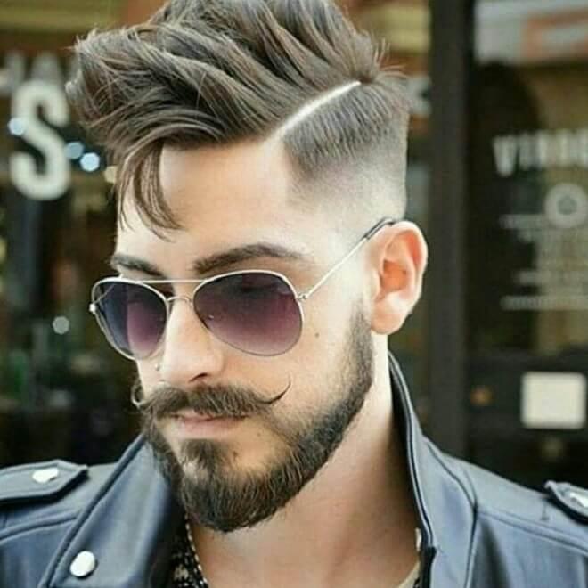 Comb Over With Angular Fringe Haircut