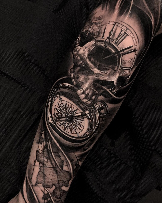 Compass Tattoo With Clock