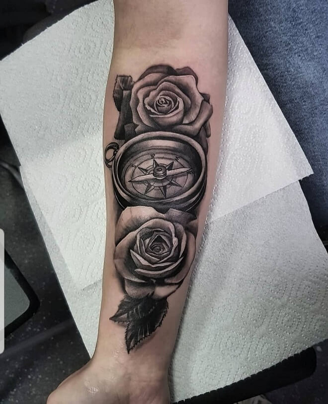 Compass With Rose Tattoo
