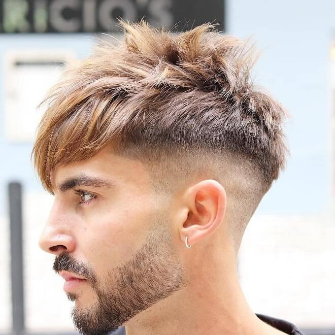 Fringe Bang Hairstyles Men With Fade