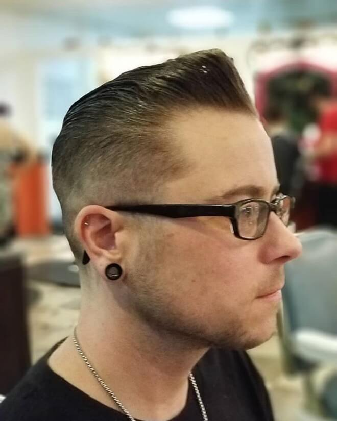 Greaser Hairstyle With Low Skin Fade
