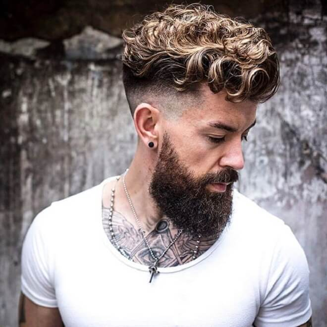 High Fade With Curly Blonde Hair