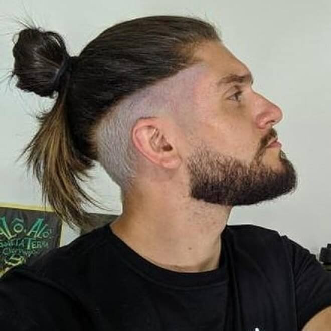 Low Bald Fade With Top Knot
