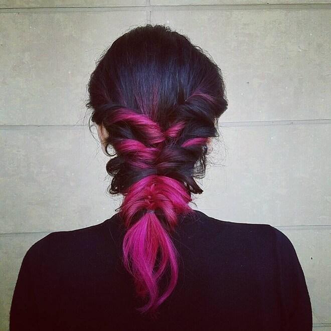 Thick Pink Mermaid Braid Hairstyle