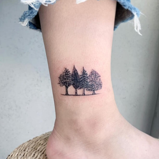 Tree Ankle Tattoo