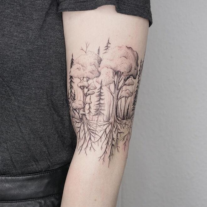 Tree Line Work Tattoo