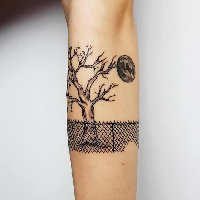 Tree With Moon Tattoo