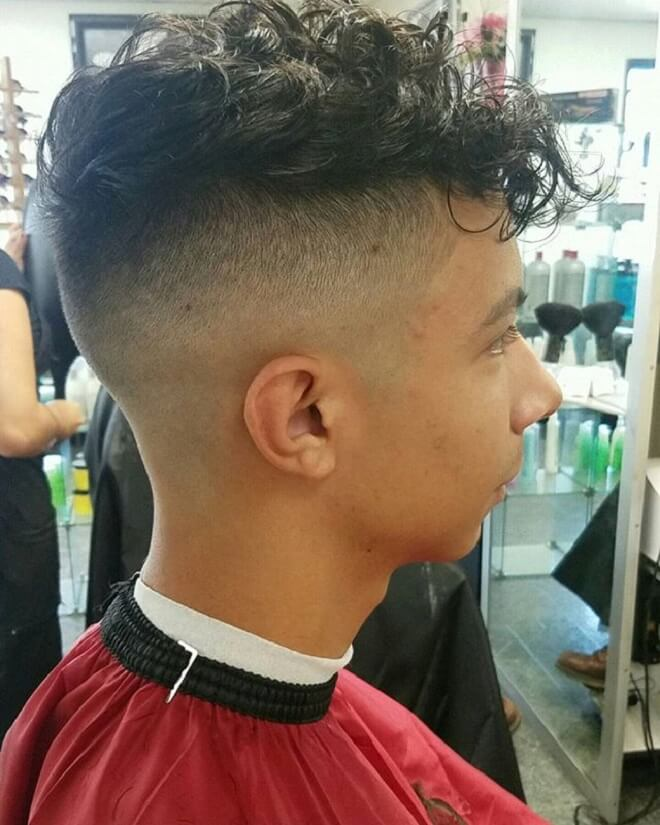 Undercut Fade With Curly Fringe