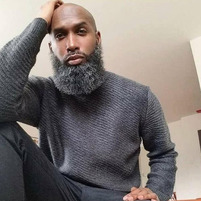 Bald with Beard Black Man