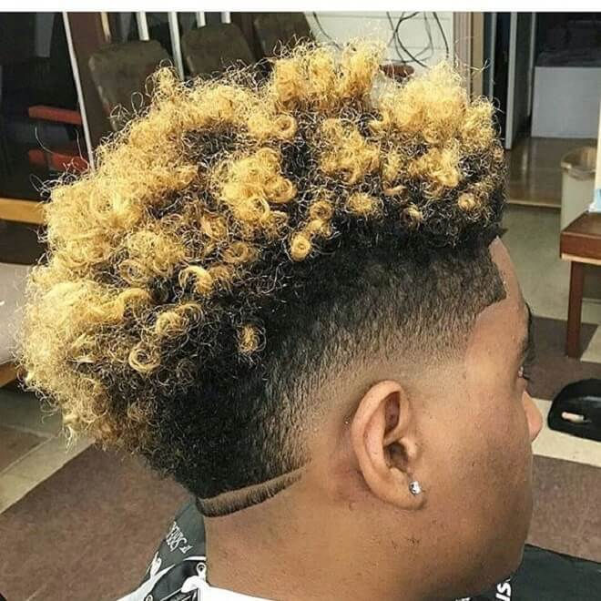 Blonde Curly Mohawk Fade