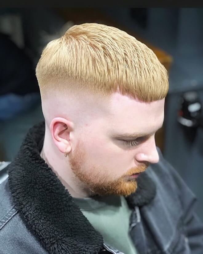 Blonde Hair Crop Cut With Skin Fade