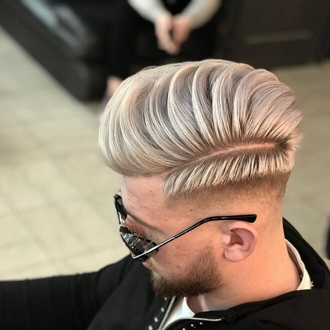 Blonde Hair With Comb Over Pompadour