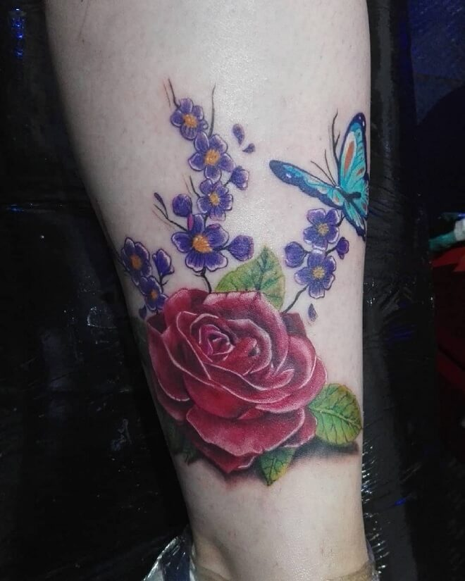 Butterfly with Rose Tattoo
