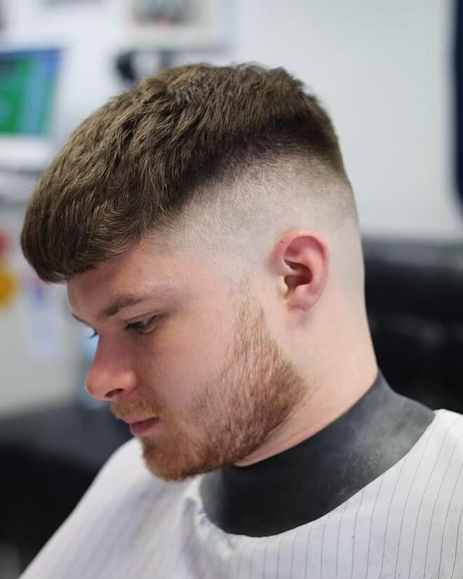 Caesar Haircut with High Skin Fade