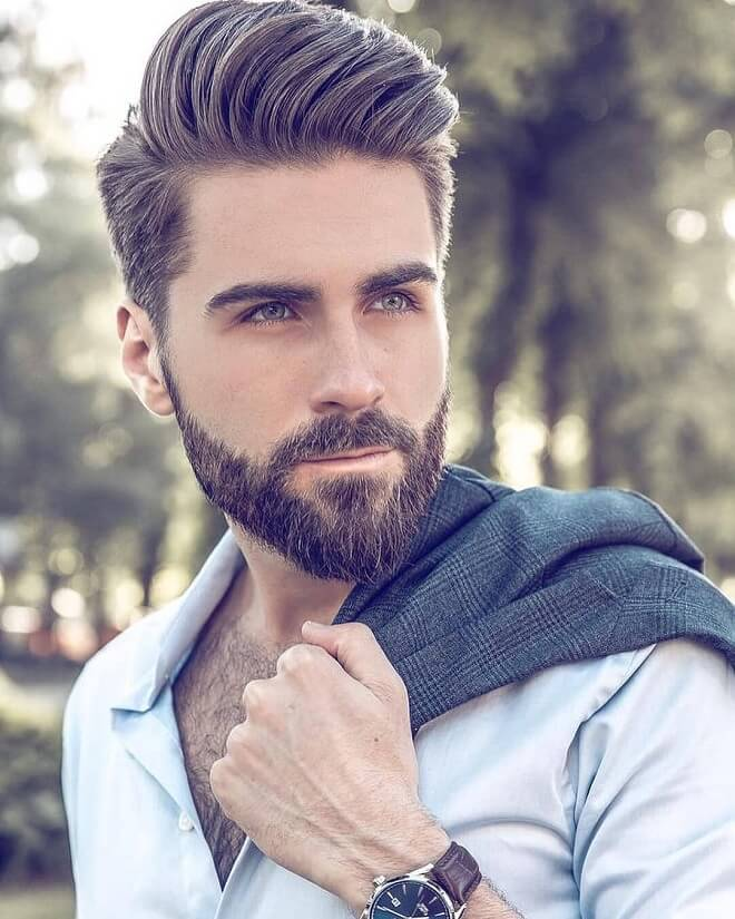 Classy Hairstyle with Beard Style