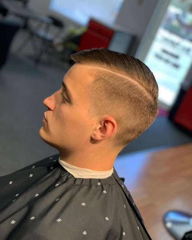 Comb Over Fade with Side Part