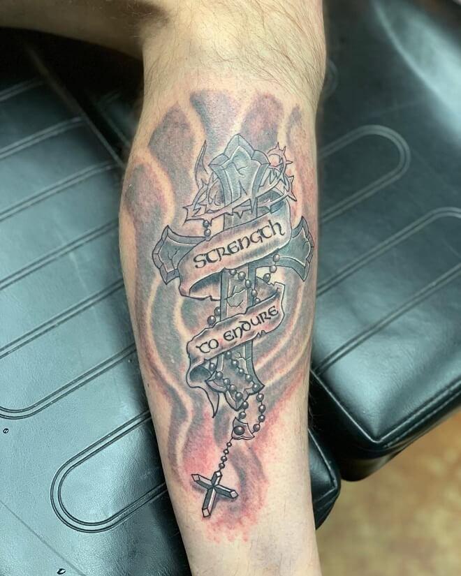 Cross Leg Tattoo