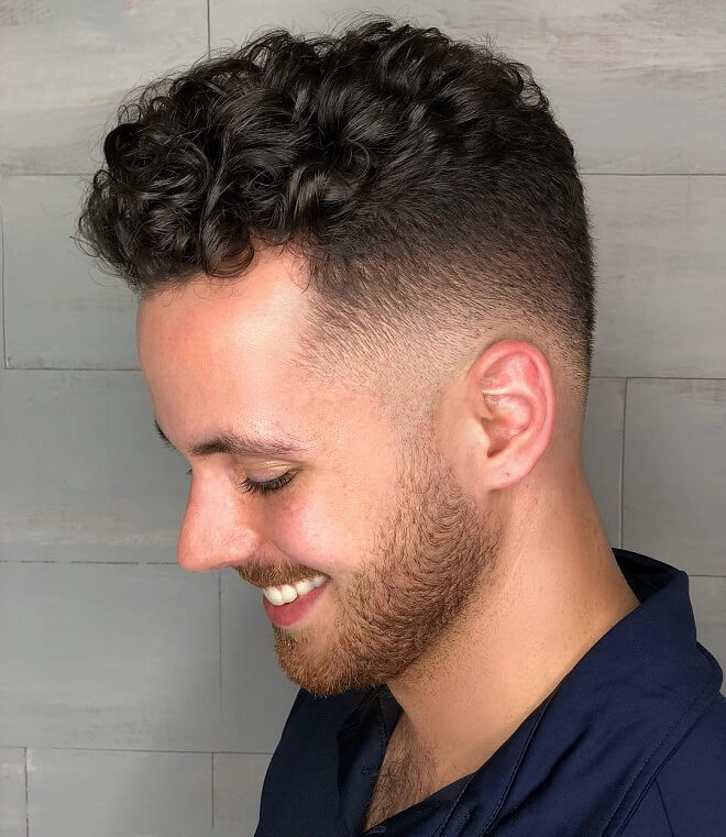 Curly Messy Hair with Low Fade