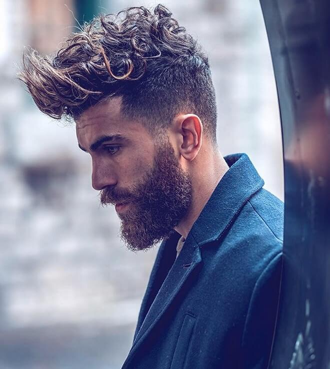 Curly Quiff with Beard Style