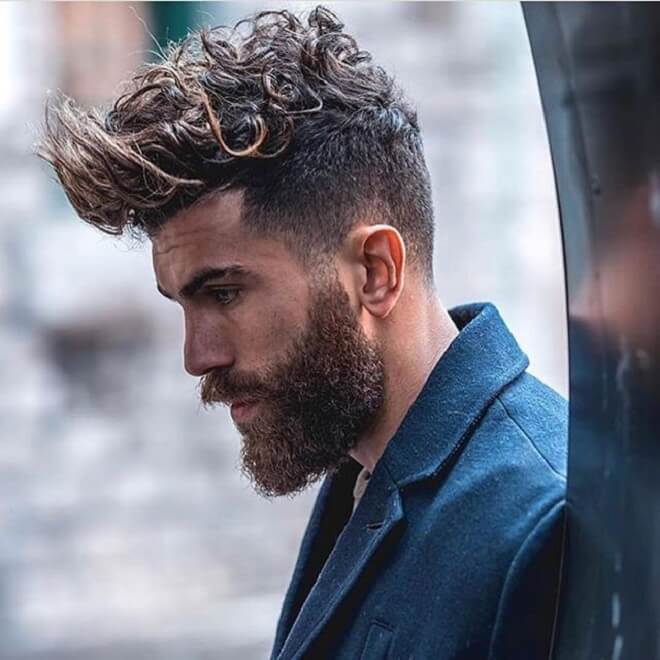 Curly Spiky With Beard Style