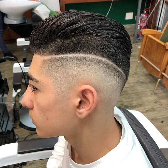 Disconnected Comb Over Skin Fade