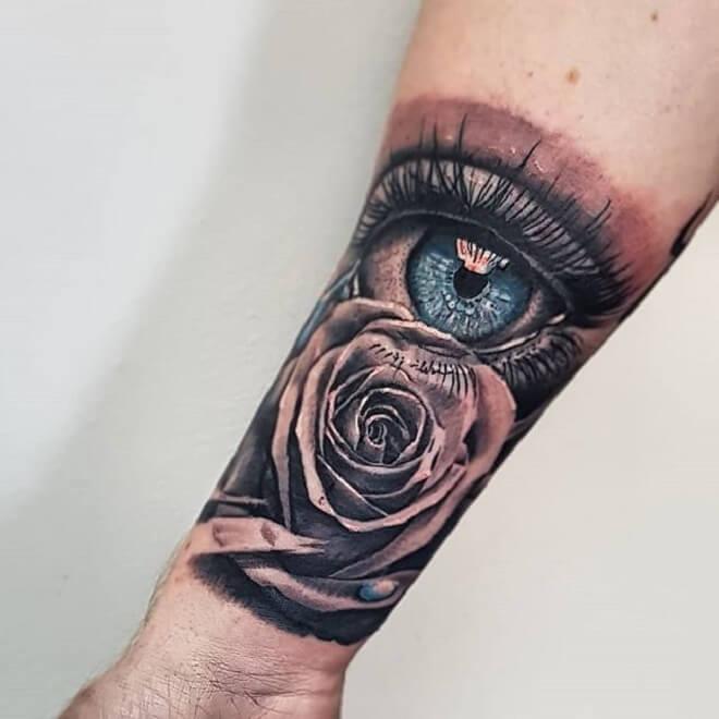 Eye Tattoo Design with Rose