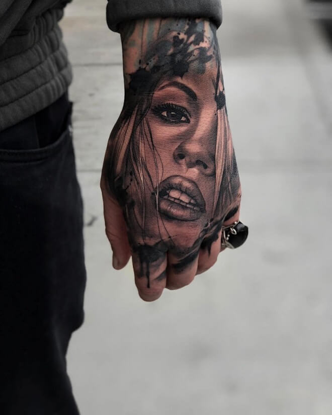 Girl Tattoo on Hand